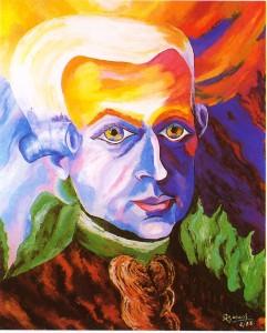 Wolfgang Amadeus Mozart portrait 100x100cm oil by Preciada Azancot